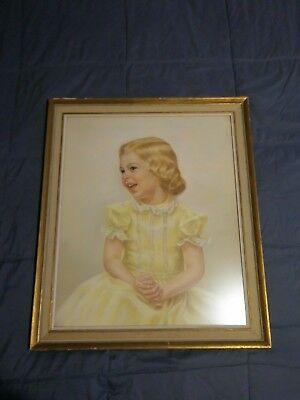 Vintage Mid Century Pastel Drawing Art Framed Portrait Young Girl Signed