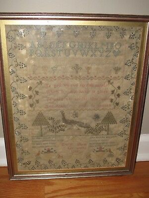 Antique American Sampler c1815 Mary Stone w Verse, Trees, Peacock, Butterfly+++