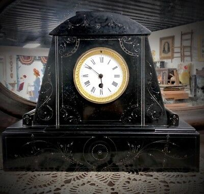 Antique 1880's French Engraved Black Marble WORKING Mantel Shelf Clock w/ Key