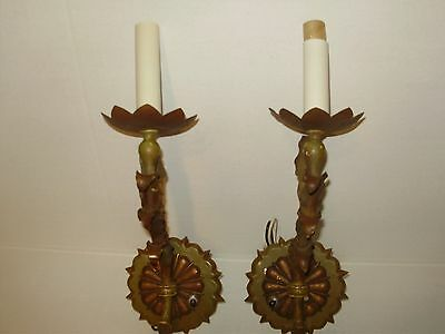 A Pair  Of Antique French Or Italian  Metal & Bronze Electric Wall Scones!