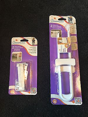 Set of DreamBaby Sliding Locks and Safety Catches. 2 Pack (total of 4)