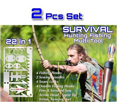 X2 EDC 24-1 Hunting Fishing Wilderness Survival Card Tool Hooks Snare Locks