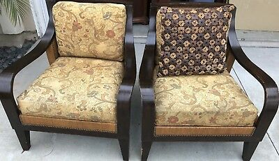 Pair Of Palecek Cane Back Chairs W/ Gold Fabric & Beaded Pillow Cover & Insert