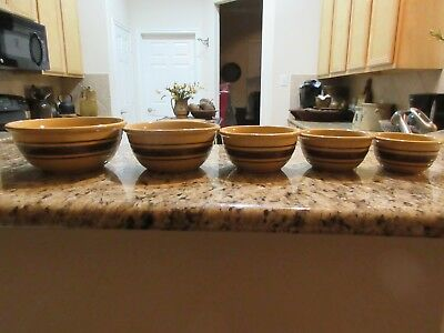 Antique Yellow Ware Bowls, Set of 5, Brown Stripes