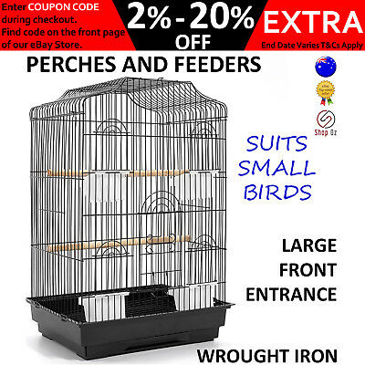 New SMALL PET BIRD AVIARY CAGE Parrot Budgie Finch Large Perch Birdcage Feeders