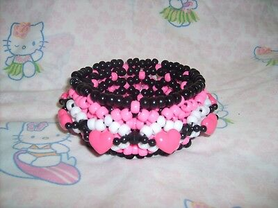 Black Pink Heart Pony Bead Kandi X Base 3D Cuff Fest Rave Dance EDM FREE SHIP