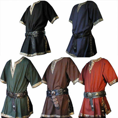 Medieval Renaissance Tunic Tops Shirt Viking Norseman Saxon Men Cosplay Clothes