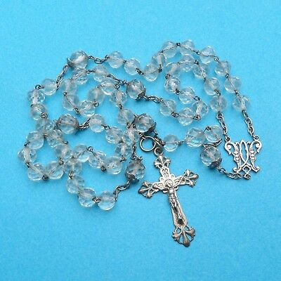 French, Gorgeous Antique Large Rosary. Silver and Quartz Bead. Crucifix. Rosarie