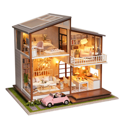 Christmas Gift DIY Wooden Toy Doll House Miniature Kit  Dollhouse Led Music Box