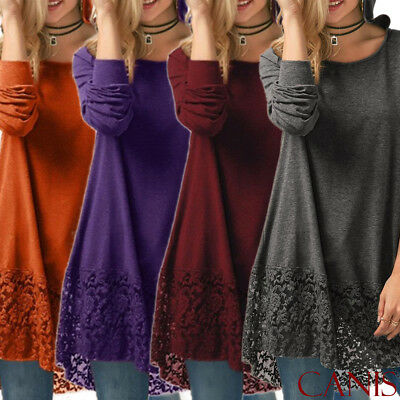 Women's Casual Long Sleeve Solid Loose Tunic Top Shirt Blouse Dress Plus Size AU