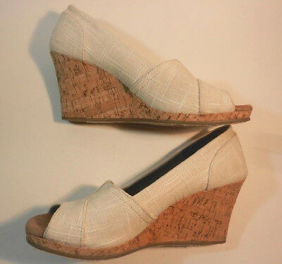 0a5bc445567 Toms Shoes Womens Natural Yarn Color Stella Slip On Peep Toe Wedges Size 8