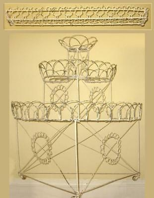 Antique French wire 3-tier curlicue plant stand + shelf ~ late Victorian 19th C.