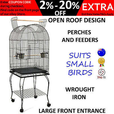 SMALL PET BIRD AVIARY CAGE Parrot Budgie Finch Large Perch Birdcage Open Roof