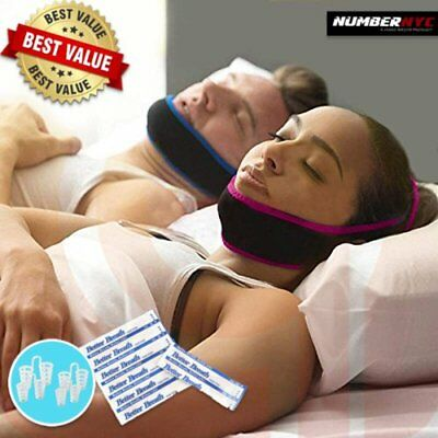 2 Anti Snoring Chin Straps for Him & Her + 4 Nose Vents + 12 Nasal Strips BUNDLE