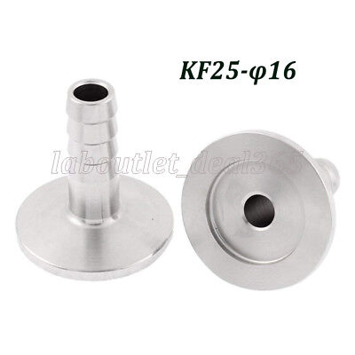 Vacuum Adapter KF-25 Stainless Steel 304 Flange to OD 16mm Rubber Hose Barb