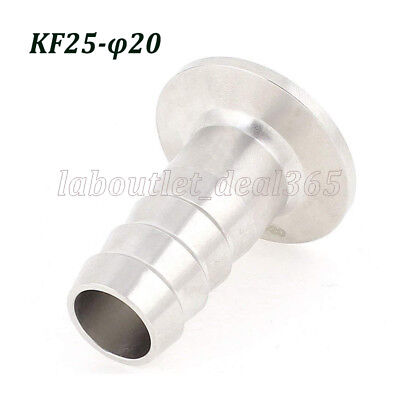 Vacuum Adapter KF-25 Stainless Steel 304 Flange to OD 20mm Rubber Hose Barb