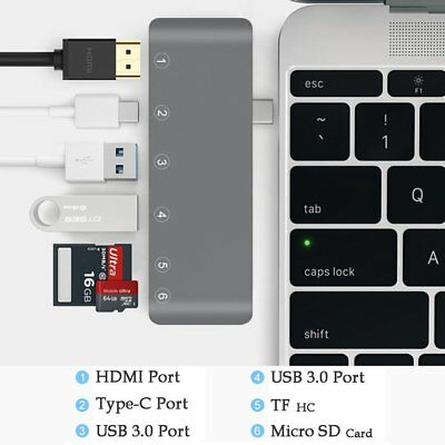 6in1 Type-C Hub 4K HDMI Adapter 2USB3.0 Combo Hub w/ SD/TF Card Reader for MacMA