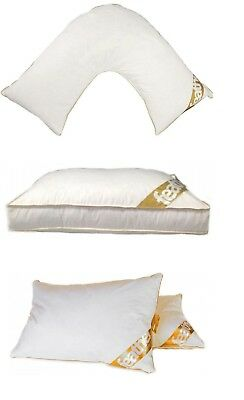 LUXURY Premium Goose feather And Down Orthopedic Pillow Box Standard & V Shaped