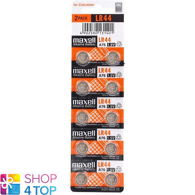10 Maxell Alkaline Lr44 A76 Batteries 1.5V Coin Cell Button Ag13 Exp 2021 New