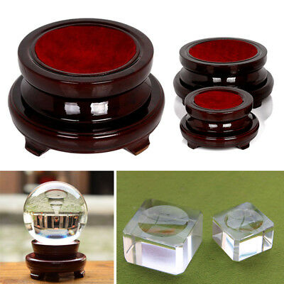 Transparent / Wooden Base Stand Holder For Crystal Glass Ball Office Home Decor