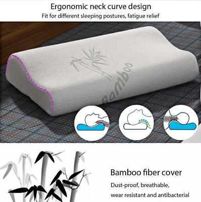 Ergonomic Curve Bamboo Fiber Slow Rebound Health Care Memory Foam Neck Pillow  T