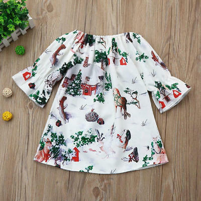Baby Toddler Girls Kids Winter Princess Christmas Dress Animal Prined Outfits