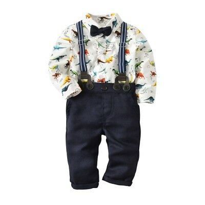 3PCS Baby Boys Gentleman Outfit suit T Shirt + pants + Bowknot Kids Clothes Set