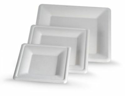 50-600 x Eco Friendly Square Plates 260mm Lid Disposable Biodegradable Sugarcane