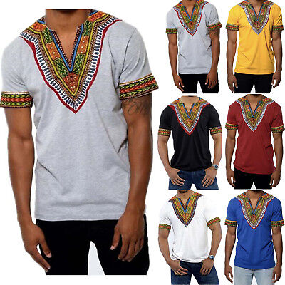 Men's African Dashiki Festival Hippie Tribal Mexican Ethnic V neck T-shirt Tops