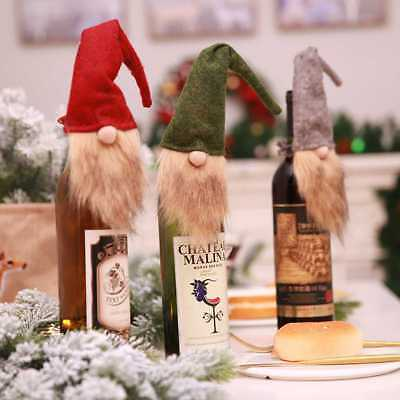 Handmade Christmas Gnome Wine Bottle Topper Cover XMAS Ornament Gift Wrap Bag