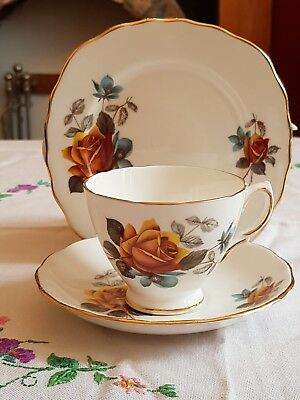 Vintage Royal Vale gold rose and teal bone china teacup saucer plate trio vgc