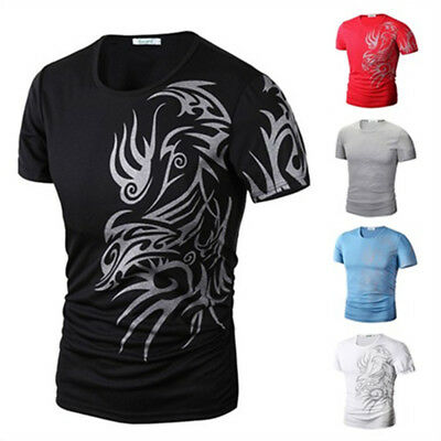 Mens Dragon Tattoo Printed Slim Fit Short Sleeve T-Shirts Casual Blouse Tee Tops
