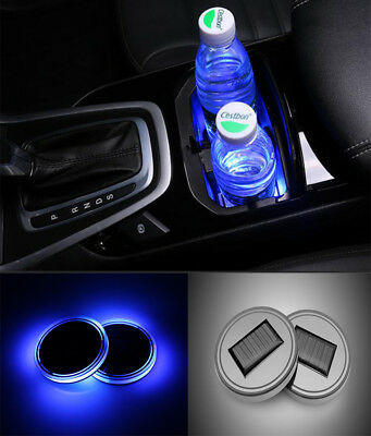 2PC Solar Cup Pad LED Light Cover Interior Decoration Lights Car Accessories