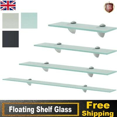 Glass Floating Bathroom Kitchen Shelf Wall Mounted Shelves Storage Multi Sizes