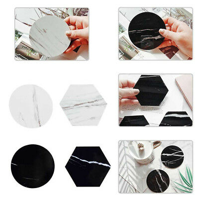 Chic Emulation Non-slip  Marble Coffee Coaster Cups Mats Pads Waterproof Desktop
