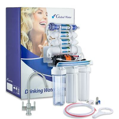 RO7 System with Booster Pump 100 GPD 7-Stage Reverse Osmosis with Mineralization