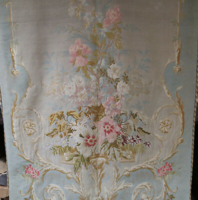Antique French Aubusson Tapestry Portiere Curtain Wall Hanging Flowers