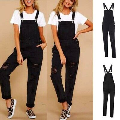 UK Womens Ripped Denim Jumpsuit Dungarees Overall Ladies Fit Wash Jeans Bodysuit