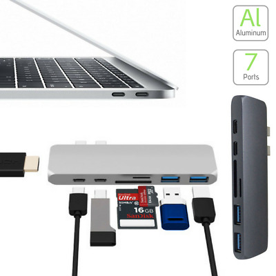7in1 USB-C Hub Dual Type-C Multiport Card Reader Adapter HDMI 4K For MacBook Pro