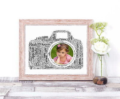 PERSONALISED Camera Word Art Wall Print Gift Idea Photography Photographer