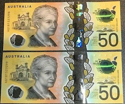 🔥Early 'A' Series $50💵 Dollars Notes New 2018 2x UNC Note🔥 Consecutive💰 AUS