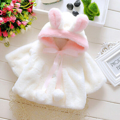 Cute Baby Girl Kid Infant Fur Hooded Winter Warm Coat Cloak Jacket Thick Clothes