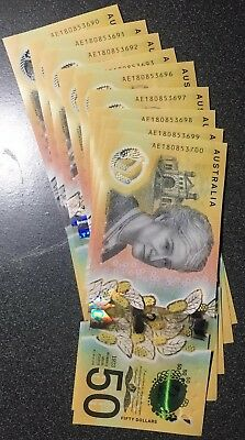 🌟1x Rare AE Prefix Unc Australia New $50 Fifty Dollar 2018 Special Notes 💫 💥