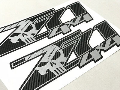 2 GMC Sierra 07-13 Decal Sticker Chevy Silverado Carbon Fiber Z71 4x4 FSCFB