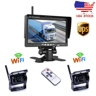 "2X Wireless IR Rear View Backup Camera Night Vision + 7"" Monitor for RV Truck"