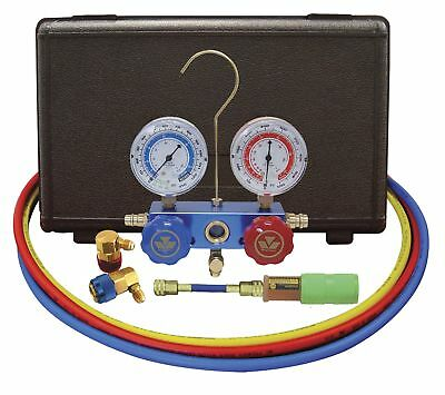 Mastercool 89660-UV Aluminum Manifold Gauge Set and Mini Dye Injector with