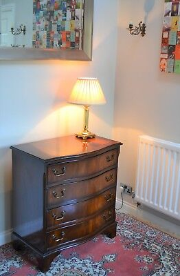 Elegant Antique Georgian Style Serpentine Figured Mahogany Chest Of 4 Drawers