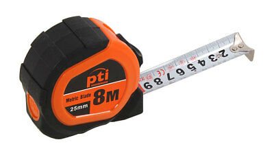 8 Metre x 25mm Wide Metric Only Pocket Measuring Tape Measure 8M