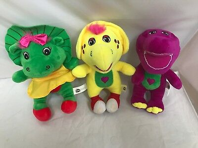 barney baby bop and bj 8 plush clean soft bright green purple