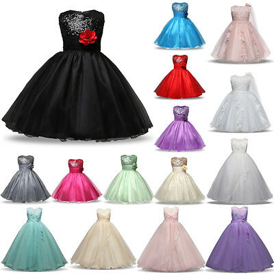 Flower Girl Princes Dress Kids Formal Party Wedding Bridesmaid Pageant Long Gown